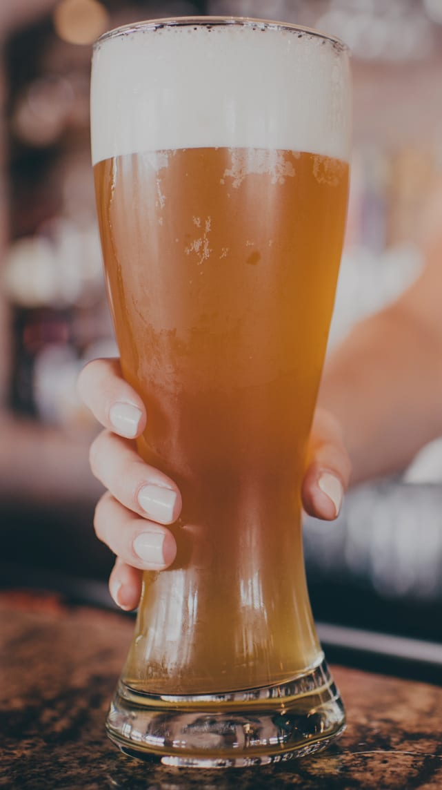 Large glass of beer.